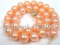 AAAAA 11.6-14.2mm natural pink round freshwater pearl necklace with 14k gold clasp FNA042