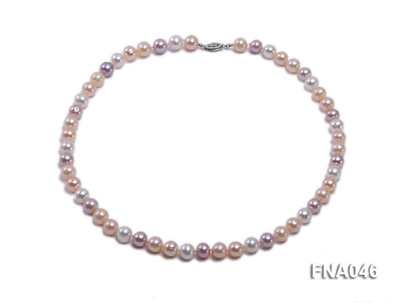 Classic 8-8.5mm AAA White and Pink Cultured Freshwater Pearl Necklace big Image 1