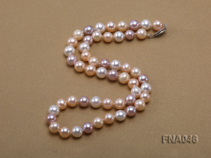 Classic 8-8.5mm AAA White and Pink Cultured Freshwater Pearl Necklace big Image 2