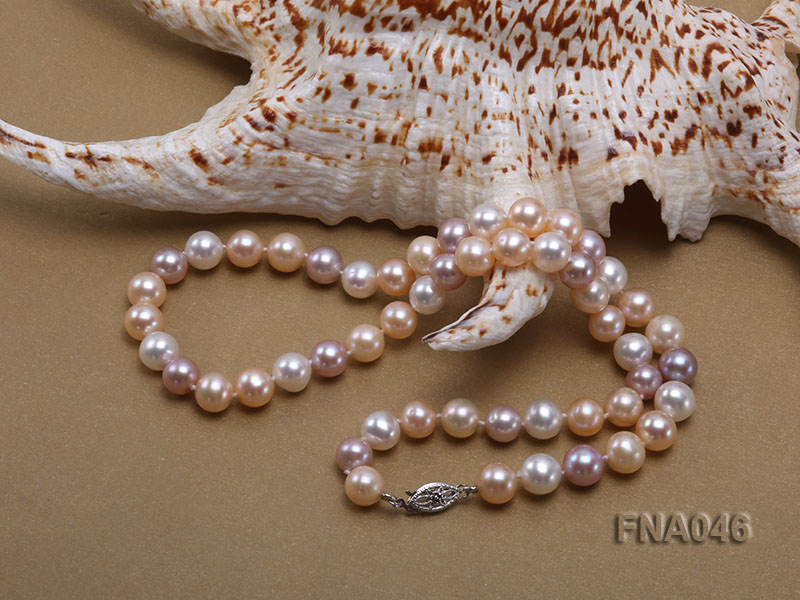 Classic 8-8.5mm AAA White and Pink Cultured Freshwater Pearl Necklace big Image 3