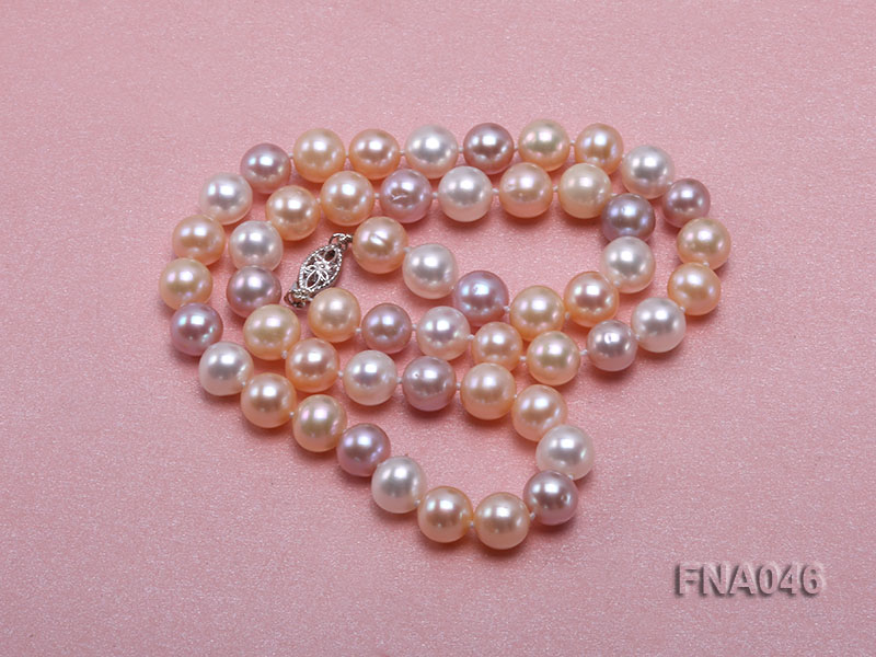 Classic 8-8.5mm AAA White and Pink Cultured Freshwater Pearl Necklace big Image 4