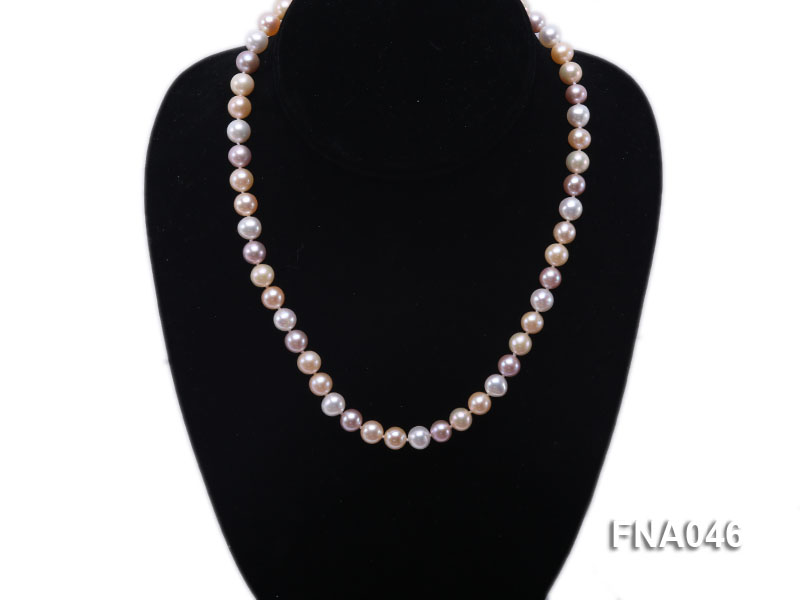 Classic 8-8.5mm AAA White and Pink Cultured Freshwater Pearl Necklace big Image 5
