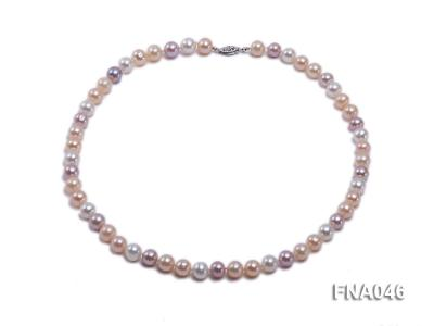 Classic 8-8.5mm AAA White and Pink Cultured Freshwater Pearl Necklace FNA046 Image 1