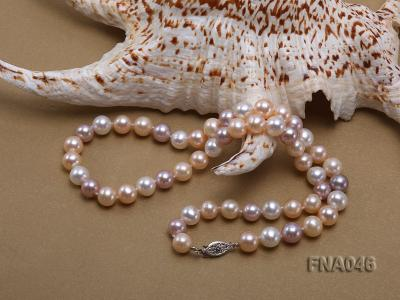 Classic 8-8.5mm AAA White and Pink Cultured Freshwater Pearl Necklace FNA046 Image 3