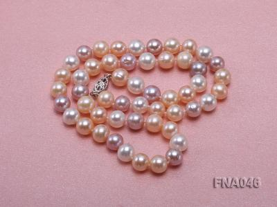 Classic 8-8.5mm AAA White and Pink Cultured Freshwater Pearl Necklace FNA046 Image 4
