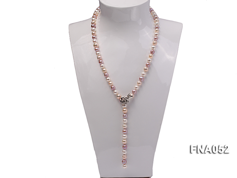 Classic 8-8.5mm AAA Multi-color Cultured Freshwater Pearl Necklace big Image 6