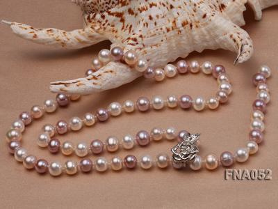 Classic 8-8.5mm AAA Multi-color Cultured Freshwater Pearl Necklace FNA052 Image 4