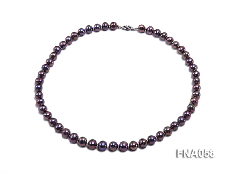 Classic 8-8.5mm AAA Lavender Round Cultured Freshwater Pearl Necklace big Image 1