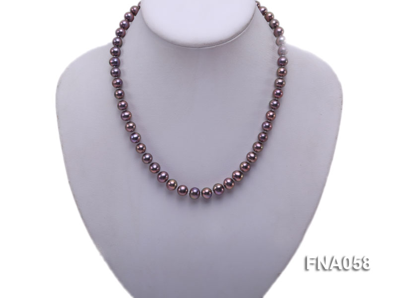 Classic 8-8.5mm AAA Lavender Round Cultured Freshwater Pearl Necklace big Image 2