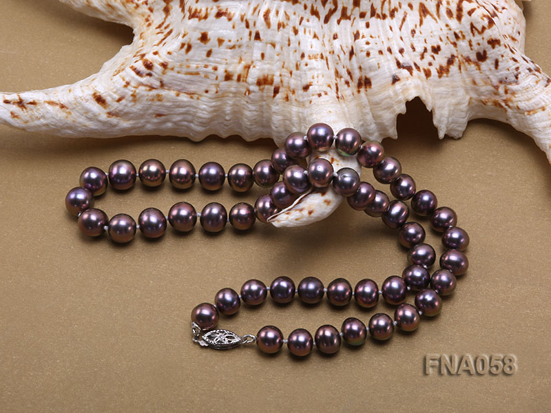Classic 8-8.5mm AAA Lavender Round Cultured Freshwater Pearl Necklace big Image 5