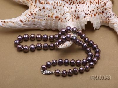 Classic 8-8.5mm AAA Lavender Round Cultured Freshwater Pearl Necklace FNA058 Image 5
