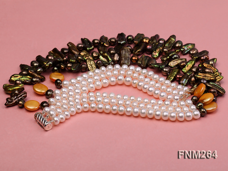 3 strand colorful freshwater pearl necklace with sterling sliver clasp big Image 4