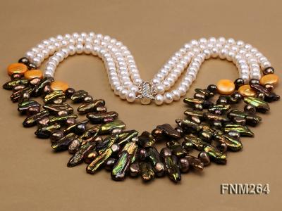 3 strand colorful freshwater pearl necklace with sterling sliver clasp FNM264 Image 3