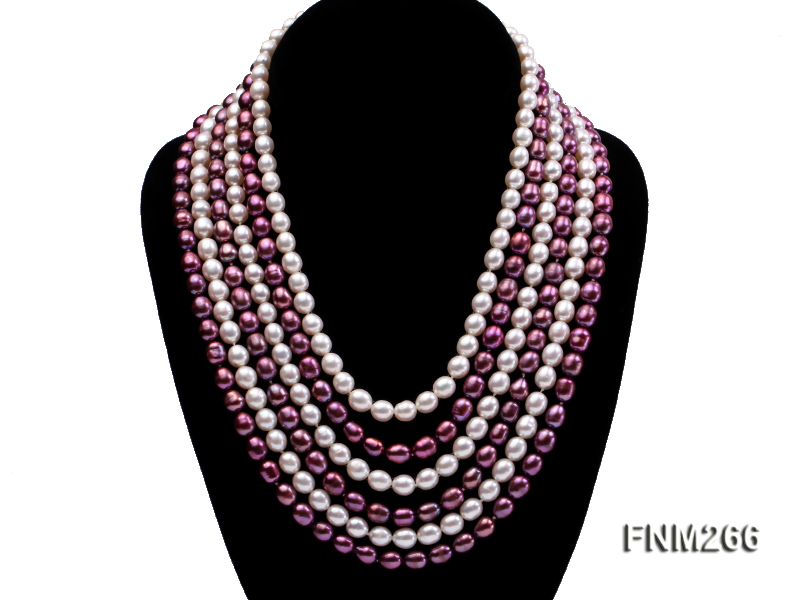 Six-Strand White and Purple Oval Freshwater Pearl Necklace big Image 2