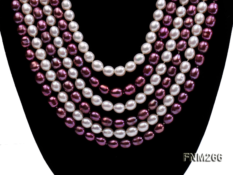 Six-Strand White and Purple Oval Freshwater Pearl Necklace big Image 3