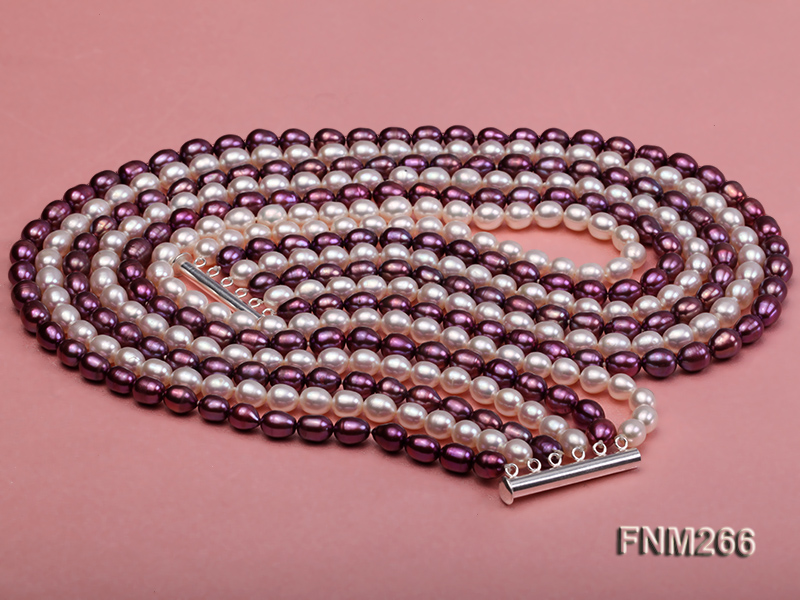 Six-Strand White and Purple Oval Freshwater Pearl Necklace big Image 4