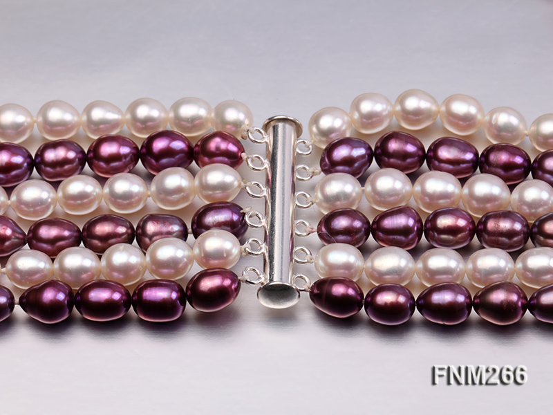 Six-Strand White and Purple Oval Freshwater Pearl Necklace big Image 6