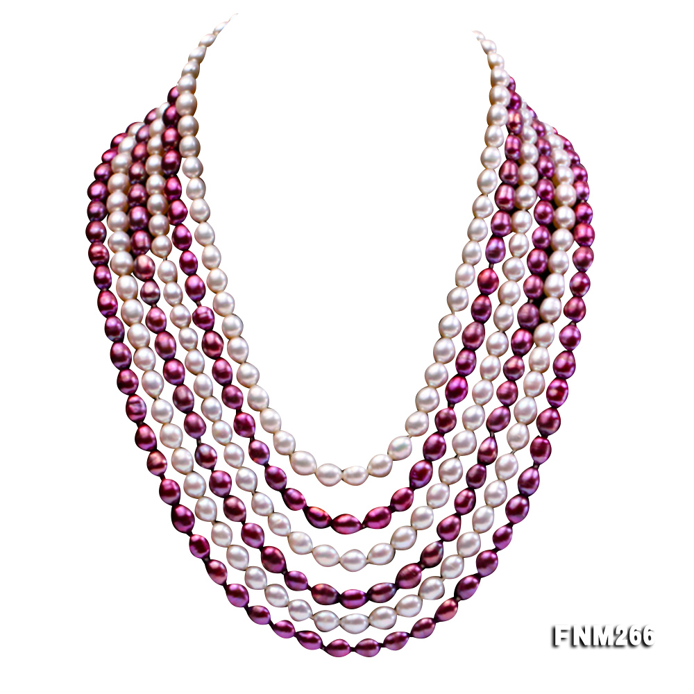 Six-Strand White and Purple Oval Freshwater Pearl Necklace big Image 1