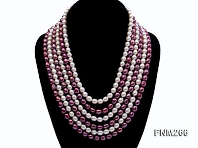 Six-Strand White and Purple Oval Freshwater Pearl Necklace FNM266 Image 2