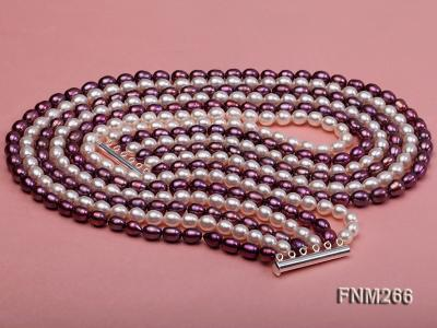 Six-Strand White and Purple Oval Freshwater Pearl Necklace FNM266 Image 4