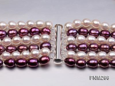 Six-Strand White and Purple Oval Freshwater Pearl Necklace FNM266 Image 6