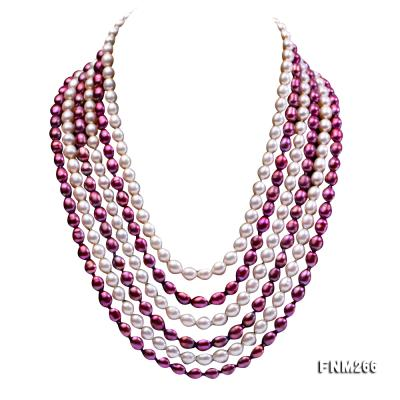 Six-Strand White and Purple Oval Freshwater Pearl Necklace FNM266 Image 1