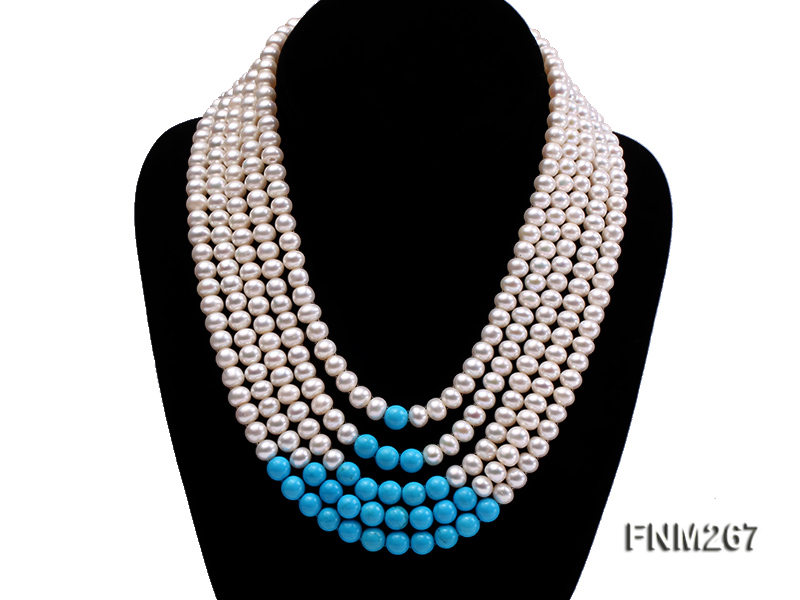 5 strand white freshwater pearl and bule turquoise neclace with sterling sliver clasp big Image 1