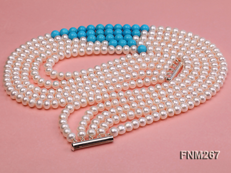 5 strand white freshwater pearl and bule turquoise neclace with sterling sliver clasp big Image 3