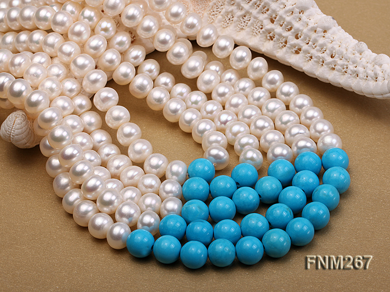 5 strand white freshwater pearl and bule turquoise neclace with sterling sliver clasp big Image 4