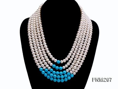 5 strand white freshwater pearl and bule turquoise neclace with sterling sliver clasp FNM267 Image 1