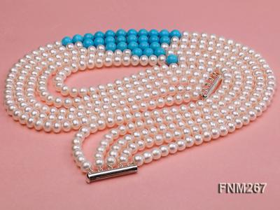 5 strand white freshwater pearl and bule turquoise neclace with sterling sliver clasp FNM267 Image 3