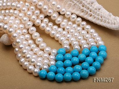 5 strand white freshwater pearl and bule turquoise neclace with sterling sliver clasp FNM267 Image 4