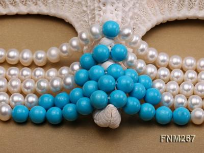5 strand white freshwater pearl and bule turquoise neclace with sterling sliver clasp FNM267 Image 5