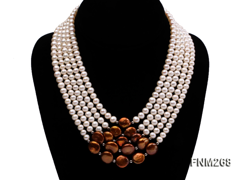 5 strand white and coffee freshwater pearl necklace big Image 1
