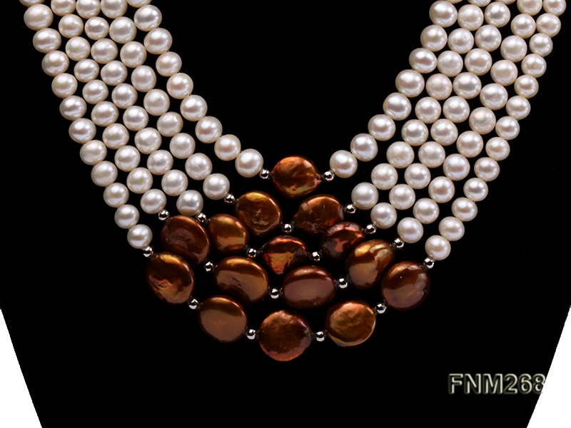 5 strand white and coffee freshwater pearl necklace big Image 2