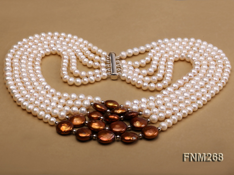 5 strand white and coffee freshwater pearl necklace big Image 3
