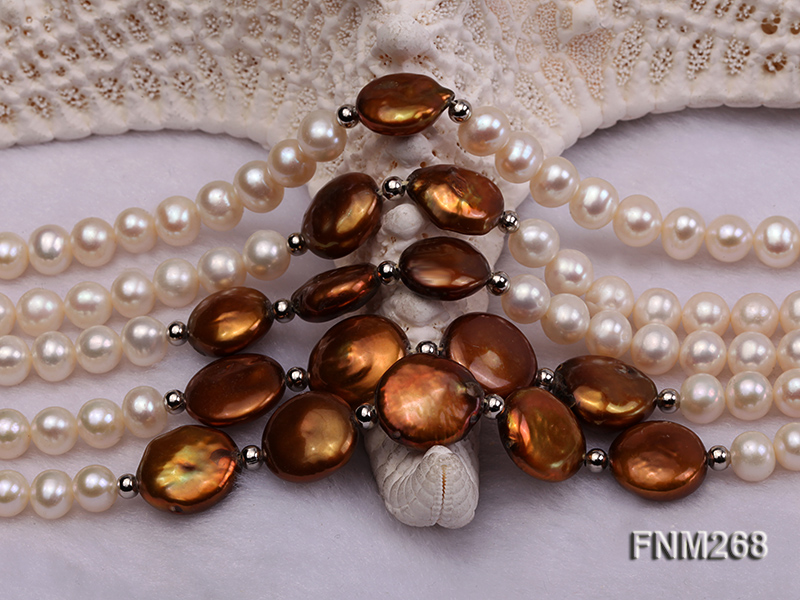 5 strand white and coffee freshwater pearl necklace big Image 6