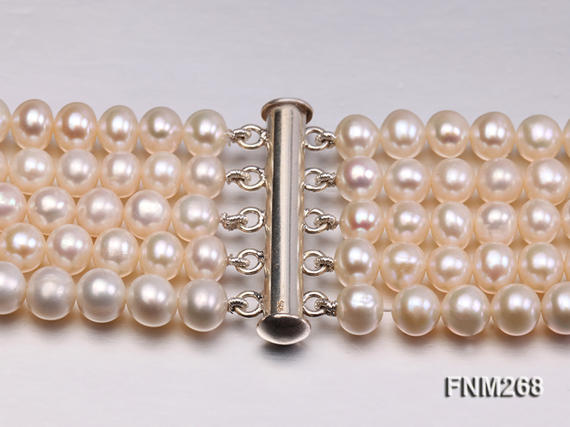 5 strand white and coffee freshwater pearl necklace big Image 7