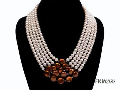 5 strand white and coffee freshwater pearl necklace FNM268 Image 1