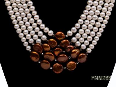 5 strand white and coffee freshwater pearl necklace FNM268 Image 2