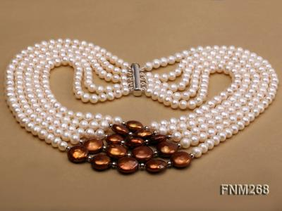 5 strand white and coffee freshwater pearl necklace FNM268 Image 3