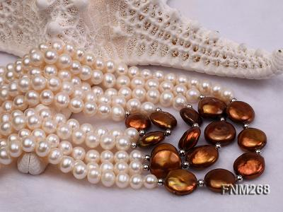 5 strand white and coffee freshwater pearl necklace FNM268 Image 5