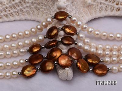 5 strand white and coffee freshwater pearl necklace FNM268 Image 6