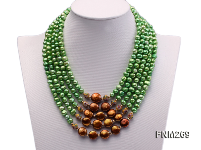 5 strand green and coffee freshwater pearl necklace big Image 1