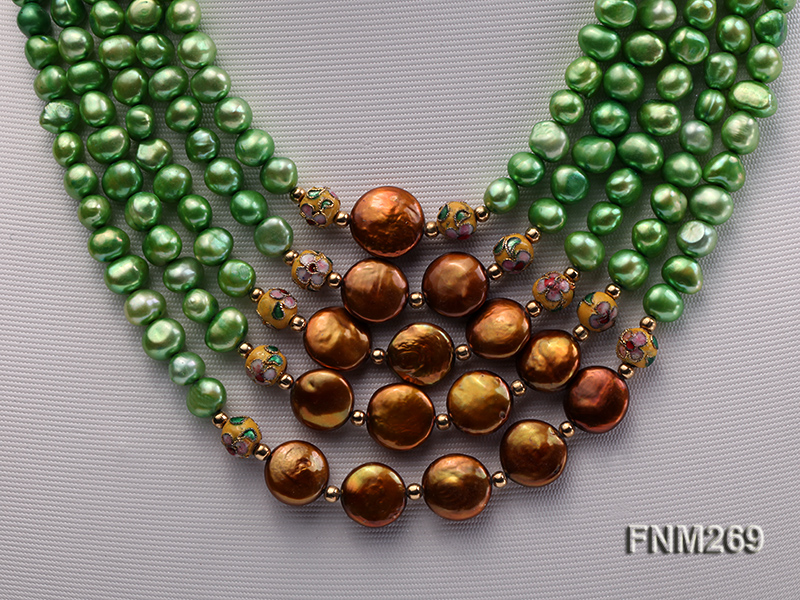 5 strand green and coffee freshwater pearl necklace big Image 2