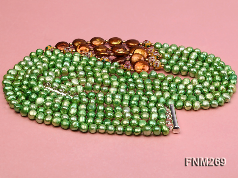 5 strand green and coffee freshwater pearl necklace big Image 3