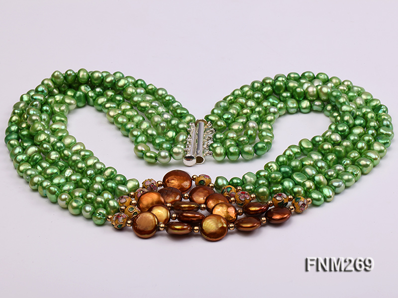 5 strand green and coffee freshwater pearl necklace big Image 4