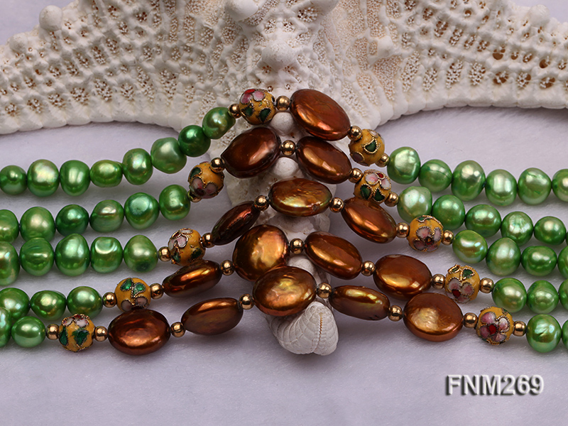 5 strand green and coffee freshwater pearl necklace big Image 5