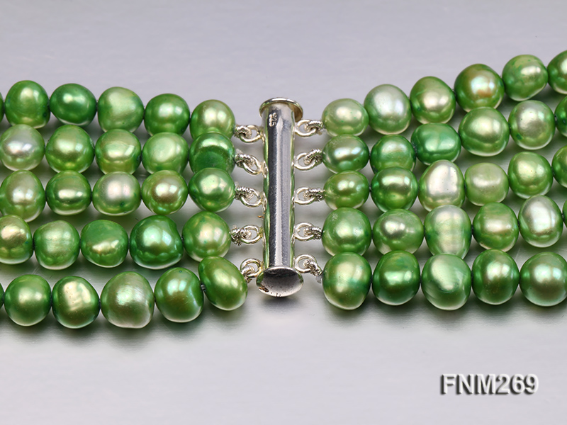 5 strand green and coffee freshwater pearl necklace big Image 7