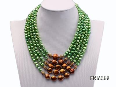 5 strand green and coffee freshwater pearl necklace FNM269 Image 1